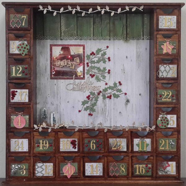 Celebr8 - Wooden Blank Advent Box Decorated