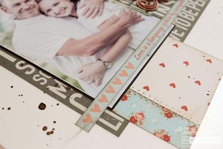 Valentine Scrapbook Layout Hearts