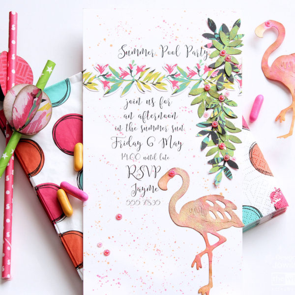 Summer Pool Party - flamingo party invitation