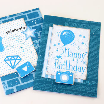 Lady Pattern Paper Dazzling Blue Sew Quick Cards