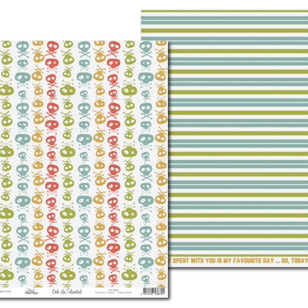 LPPO0063 - Lady Pattern Paper - Monsters in Space - Happy Skulls