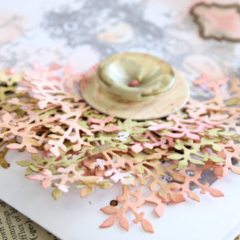 Couture Creations Clustered Die Cuts Card - Leaf